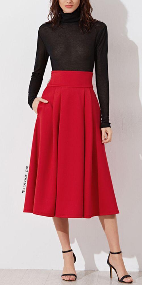 3a50aa8913 Red Wide Waistband Side Zip Box Pleated Midi Skirt   MakeMeChic.COM ...