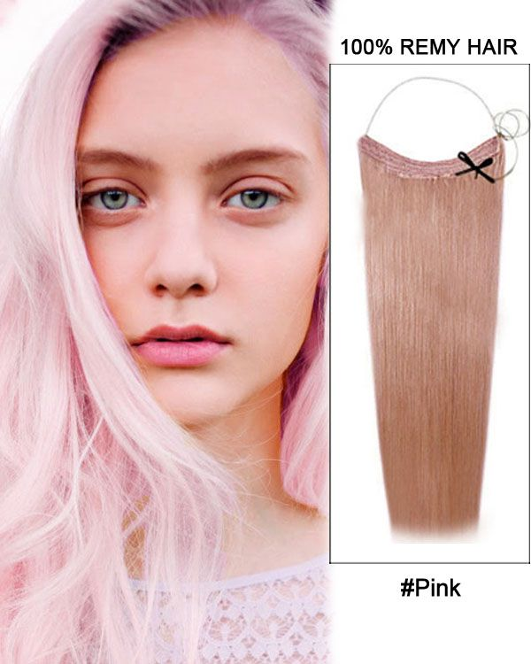 22 Pink Straight 100 Remy Hair Flip In Human Hair Extensions