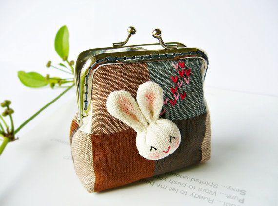 Bunny frame purse, coin purse, 8cm frame coin purse bunny, metal frame purse. $16.90, via Etsy.