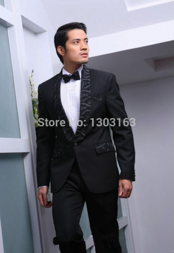 Custom Made One Button Black Groom Tuxedos Best Man Groomsman Men ...