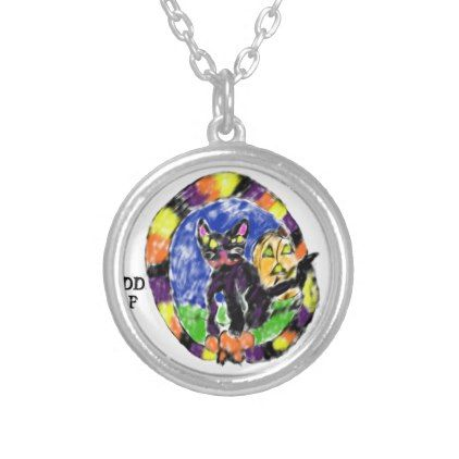 black cat Halloween Silver Plated Necklace - cat cats kitten kitty pet love pussy