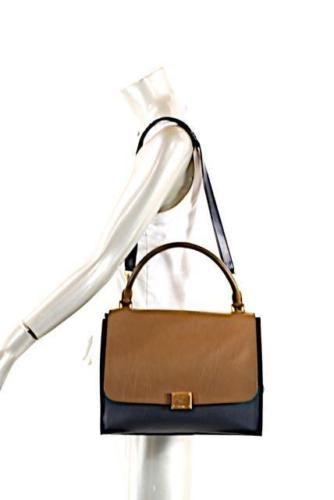 94051e82d Celine-Trapeze-Soft-Tri-Color-Black-Tobacco-Leather-Suede-Shoulder-Bag-12x9