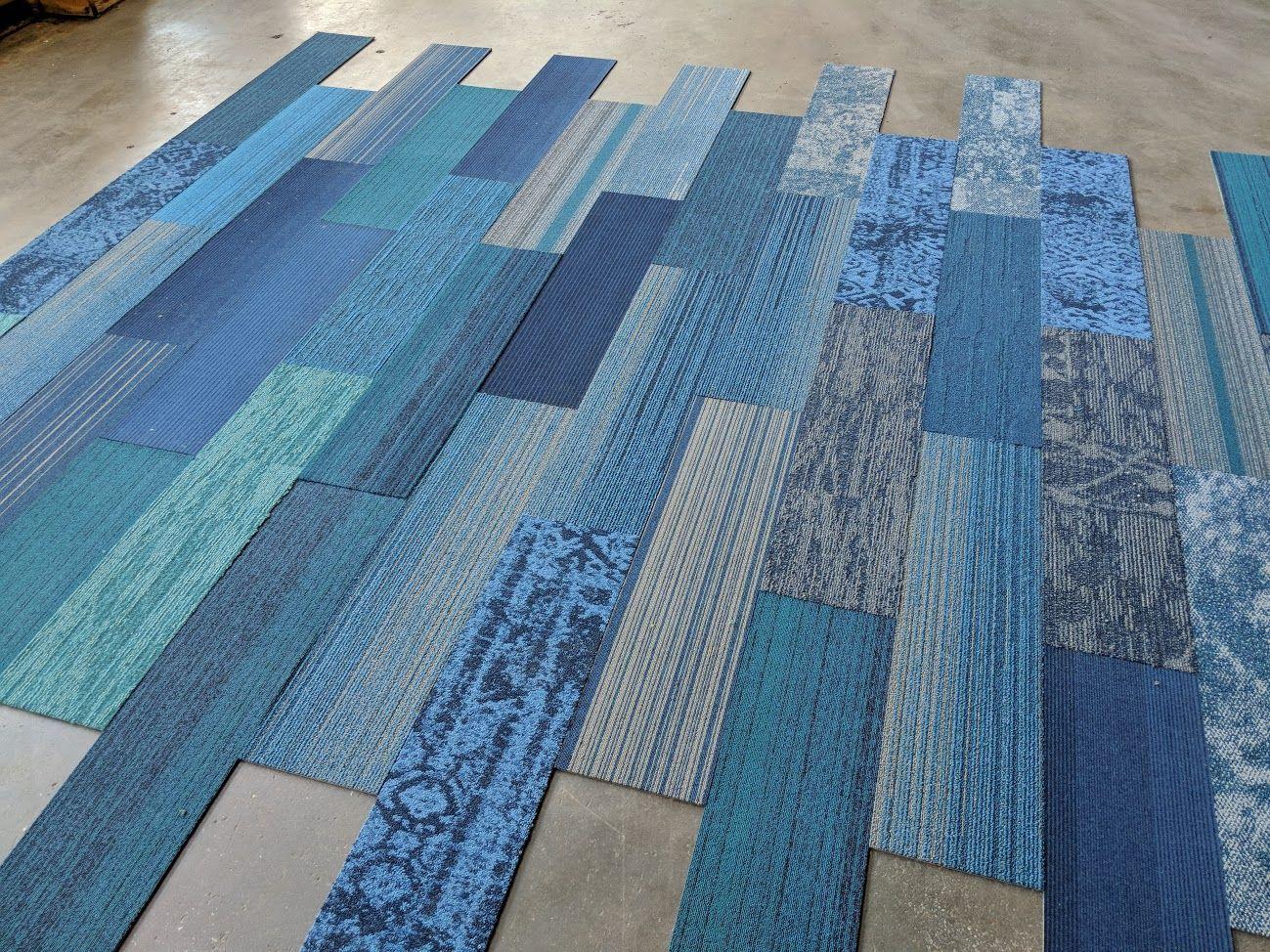 Blue Family Designer Plank Carpet Tiles (9.75 x 39.4