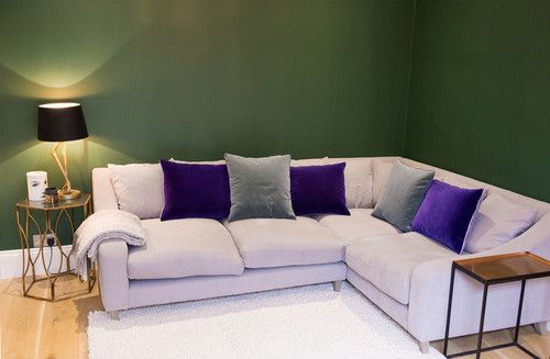 This Is Such A Snug Lounge Area Corner Sofa Velvet Cushions Dark Green Walls