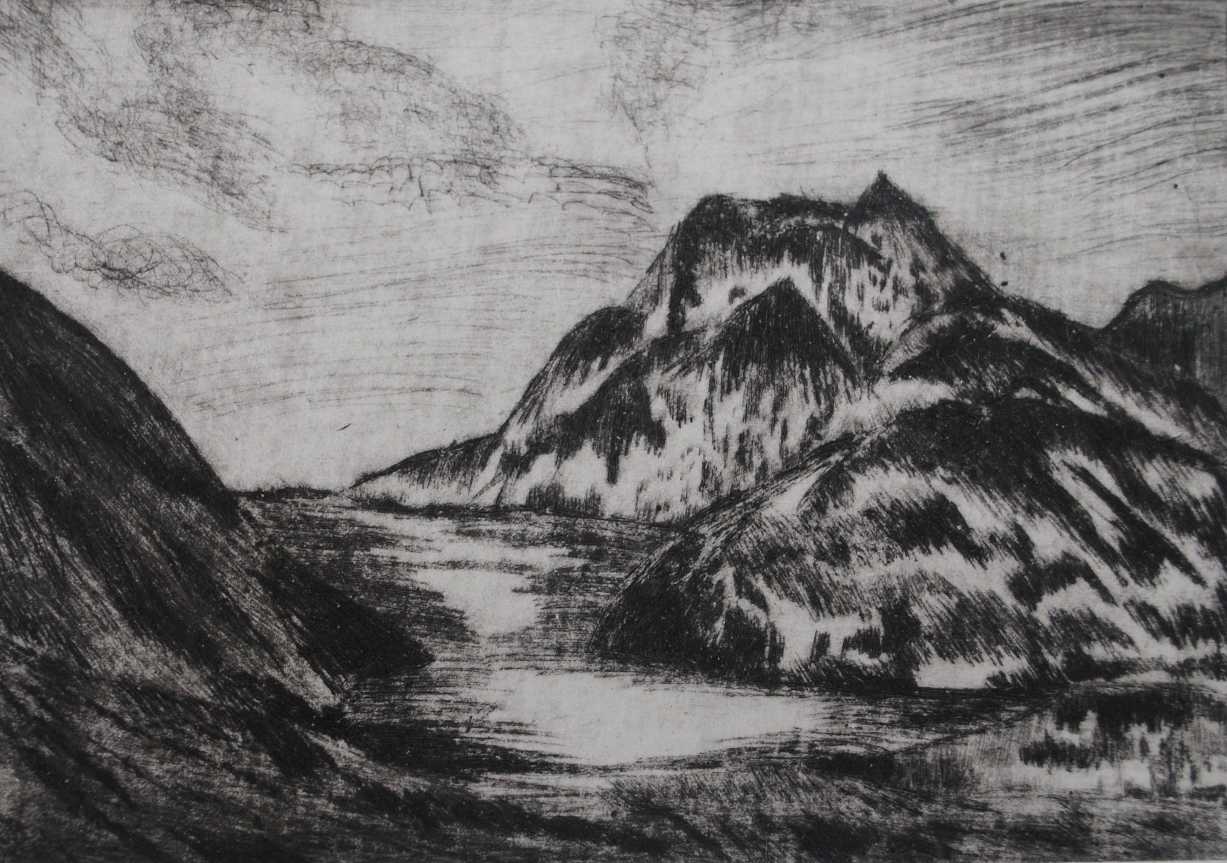 Etching Of Mountains
