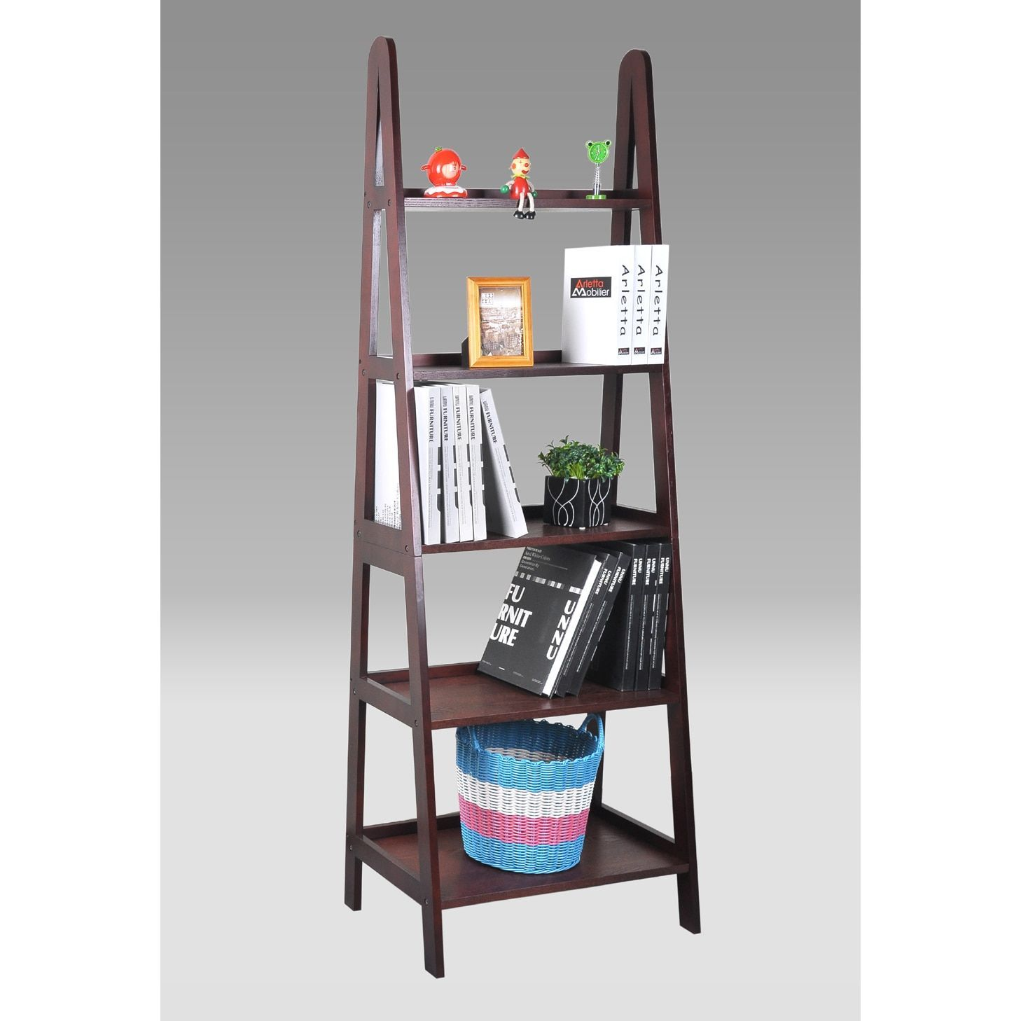 Cherry finished leaning ladder bookshelf with drawers leaning