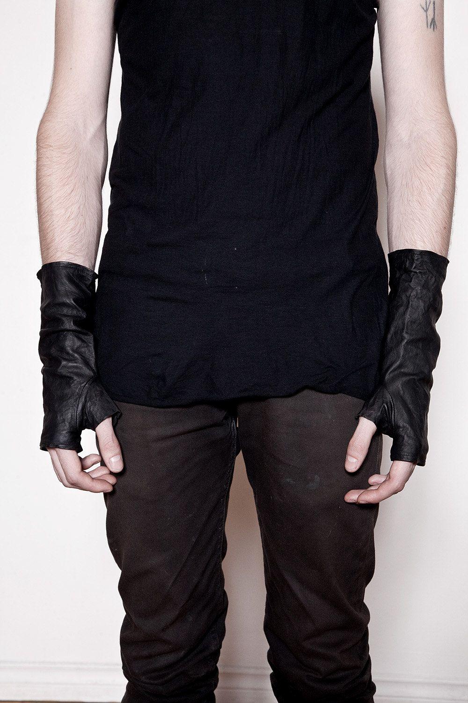 Mens leather gloves ireland - Mens Black Washed Leather Fingerless Gloves 90 00 Via Etsy