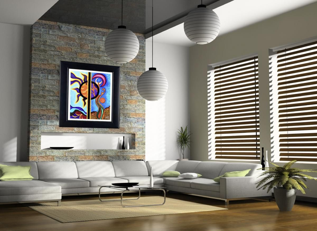 Poster Print 8x10 Multicolor Sun And The Moon Of Fine Art Painting For Your Wall Decor Venetian Blinds Living Room Home Modern Living Room