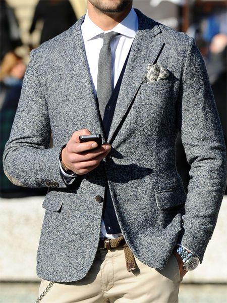Grey Suit Jacket With Khaki Pants