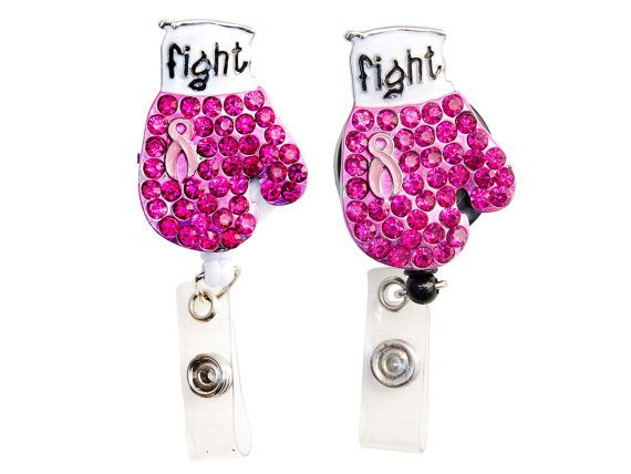 New Custom Bling Pink Rhinestone Breast Cancer Awareness Ribbon Boxing Glove ID Badge Pull Reel Retractable ID Badge Holder on Etsy, $8.99