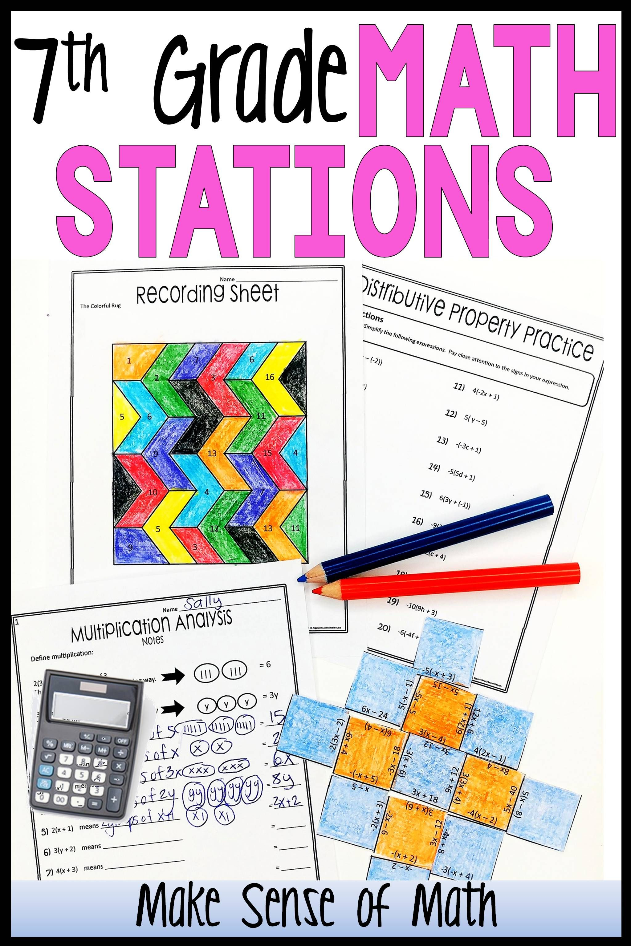 hight resolution of 7th Grade Math Stations   Maths activities middle school