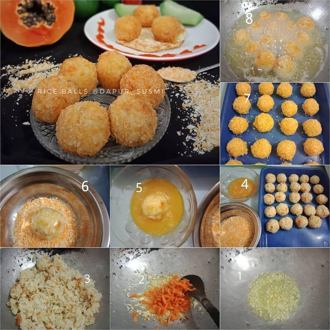 Step By Step Masak Rice Balls Bola Bola Nasi Ala Dapur Susmi Bahan 4 Centong Nasi Punel 3 Step By Step Masak Rice Balls Bola Bola Na Yummy Food Rice Balls