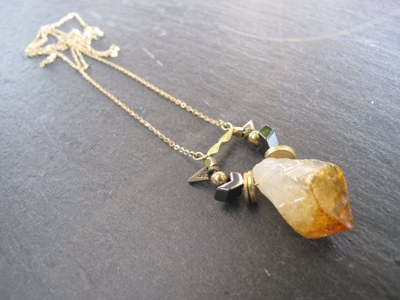 Light the Fire Necklace // Citrine Quartz // Crystal by FierceDeer