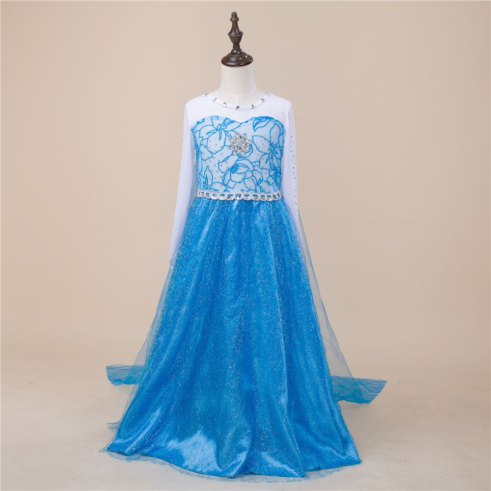 Girls kids frozen elsa party long dress princess fancy costume sz