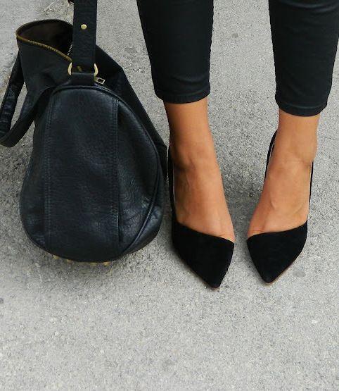 elegant black heels   bag