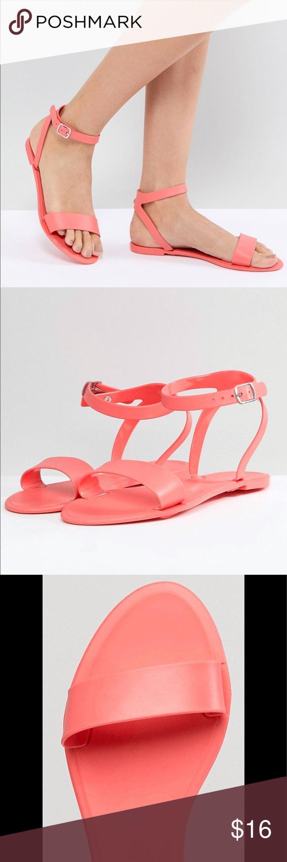 f6d0a4d410e5 Asos Felina Jelly Flat Sandals Jelly-style upper Ankle-strap fastening Open  toe Flat