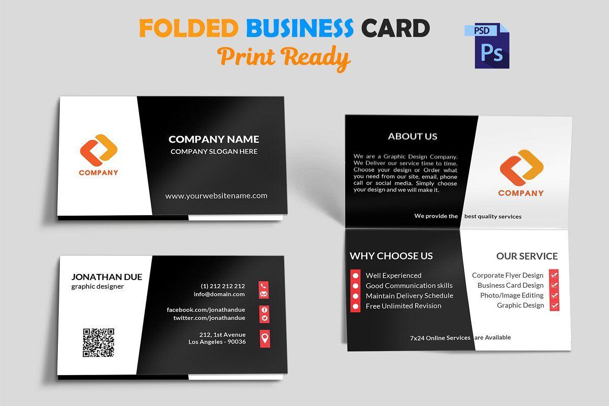 Creative Folded Business Card Vol 3 Folded Business Cards Business Card Mock Up Business Cards Creative Templates