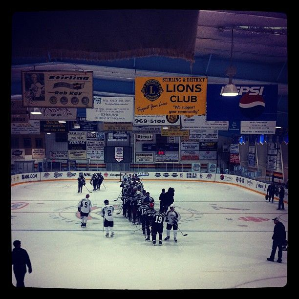 The traditional handshake line after the celebrity hockey game.