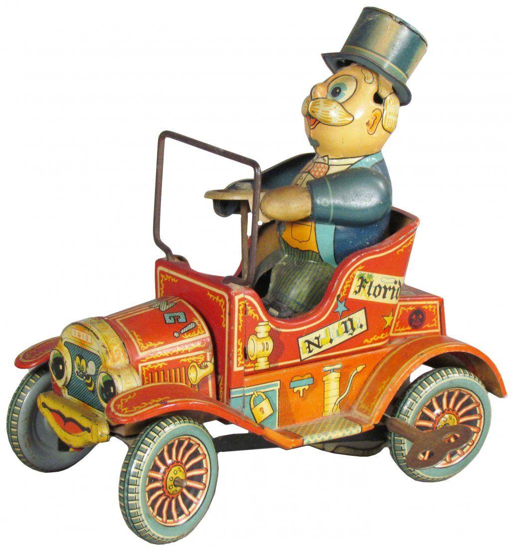 Vintage Tin Toys : Grandpa s new car tin wind up toy adventures