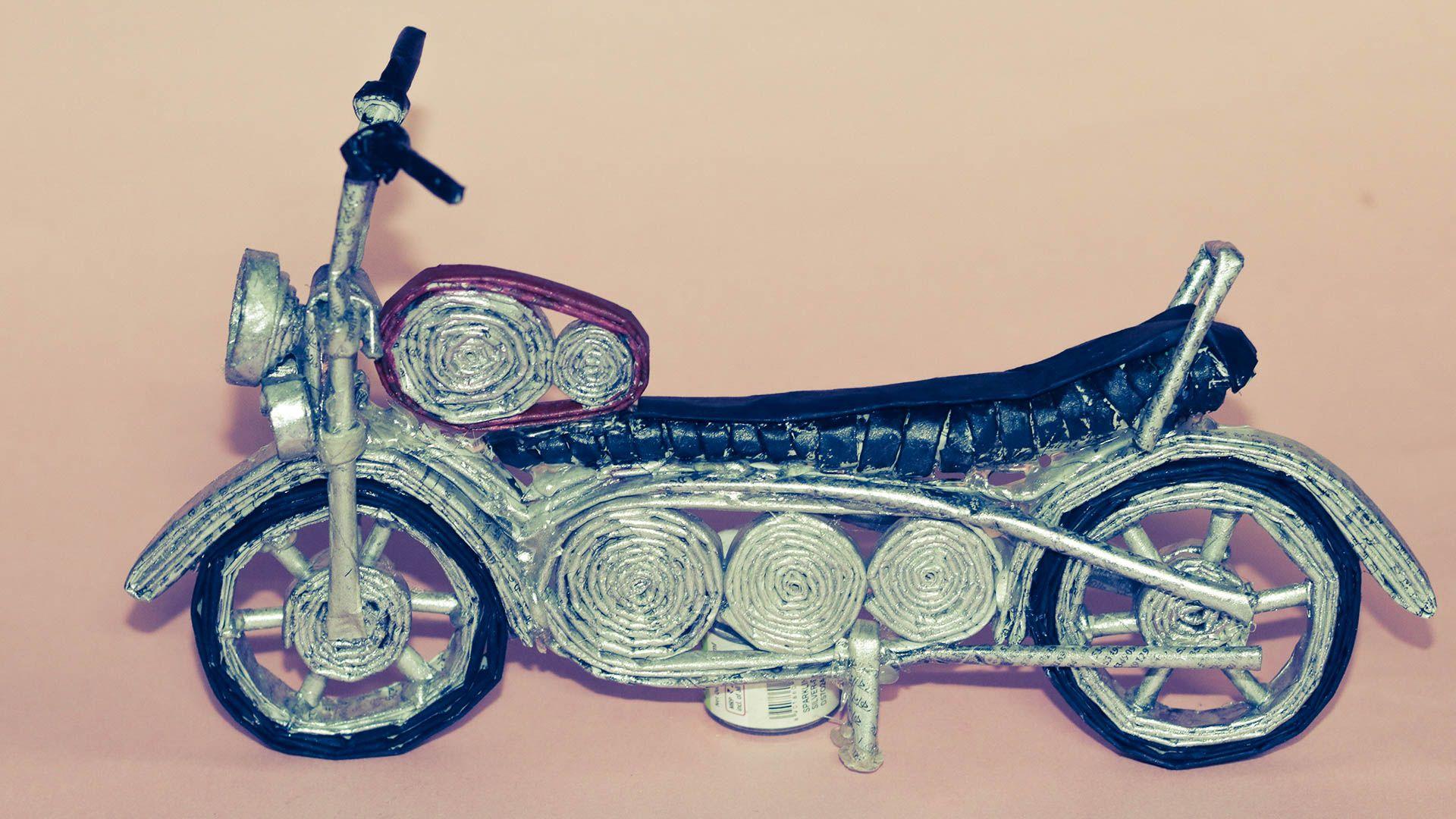 How To Make Handmade Newspaper Bike As A Showpiece Toy Diyroll