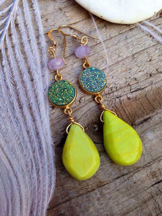 Crystal boho earrings druzy lime amethyst by FeatherTalesDesigns