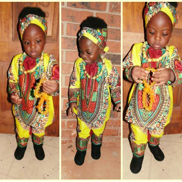African Print Ankara Girls Yellow Dashiki Pants Set | Mother daughter dresses. mommy and me, mother and daughter dress
