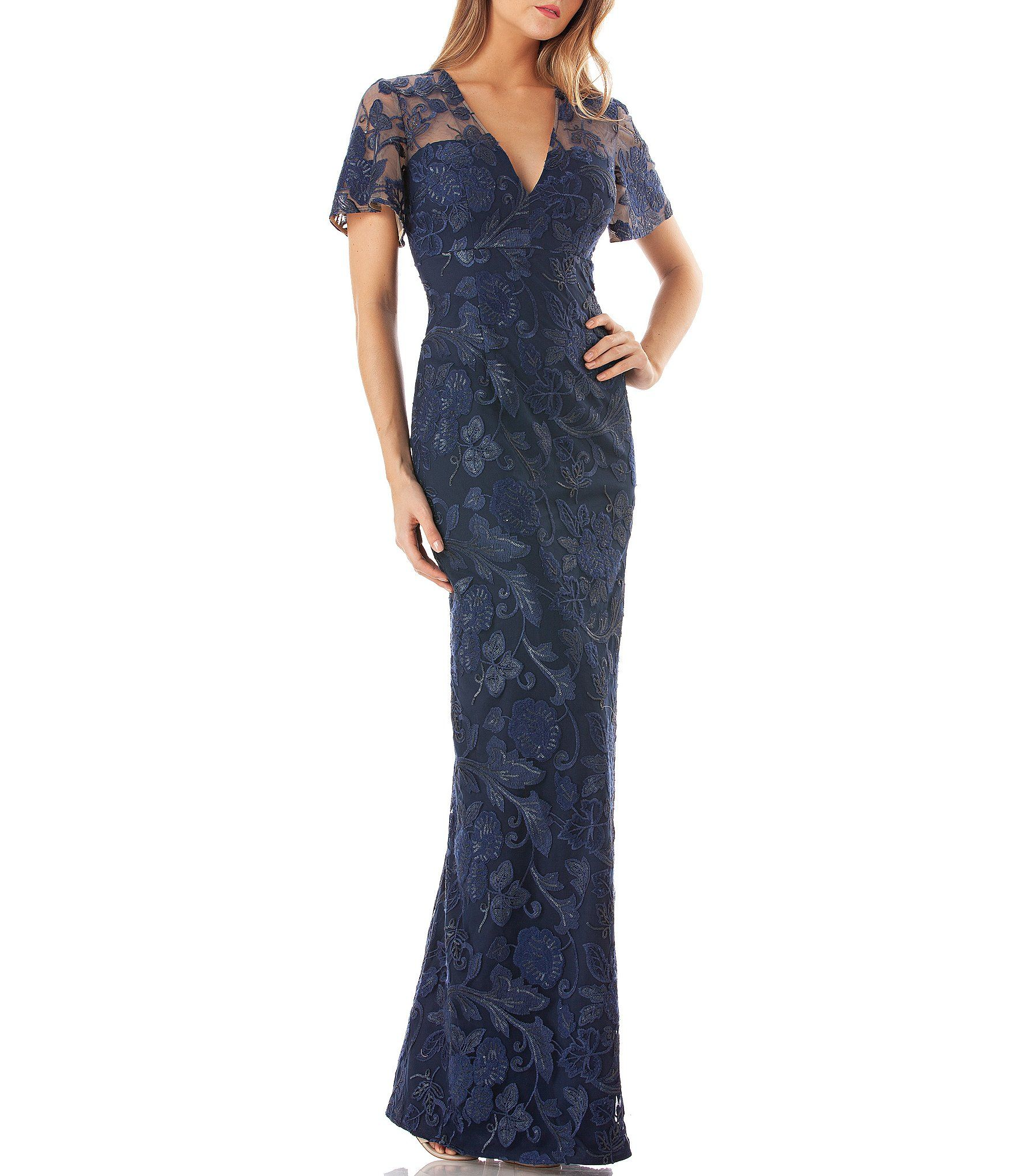 e62f0523f98d Carmen Marc Valvo Embroidered Sequin V-Neck Gown #Dillards   Wedding ...