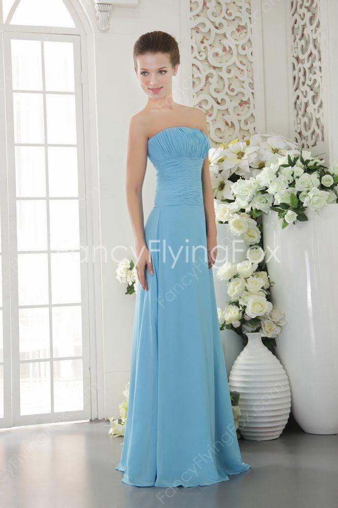 Noble Strapless Neckline A-line Floor Length Blue Bridesmaid Dresses 2014