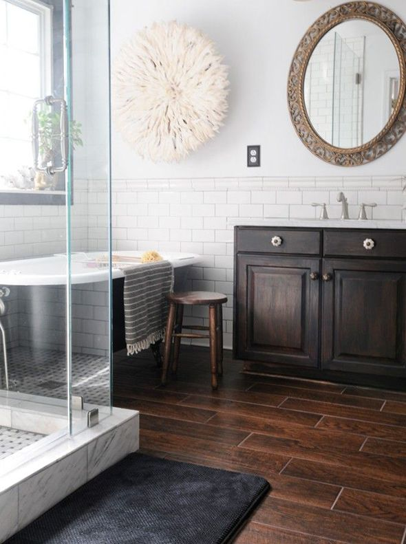 8 Tips For Nailing The Wood Tile Look Little Green Notebook Modern Bathroom Tile Wood Tile Floors Wood Bathroom