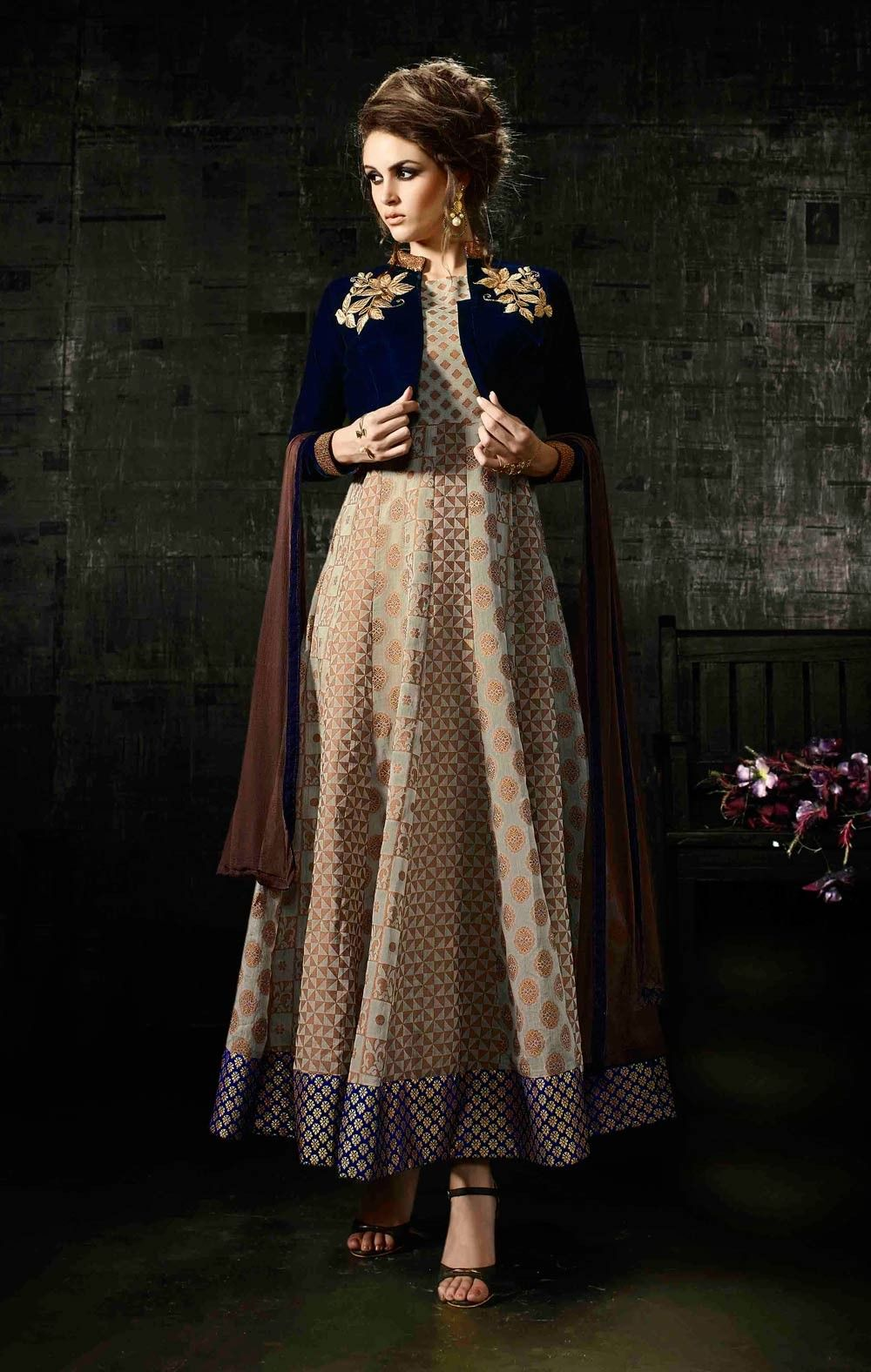 c6a61b0c48 Designer weddingwear ankle length Indian anarkali frock style suit with  velvet embroidered jacket