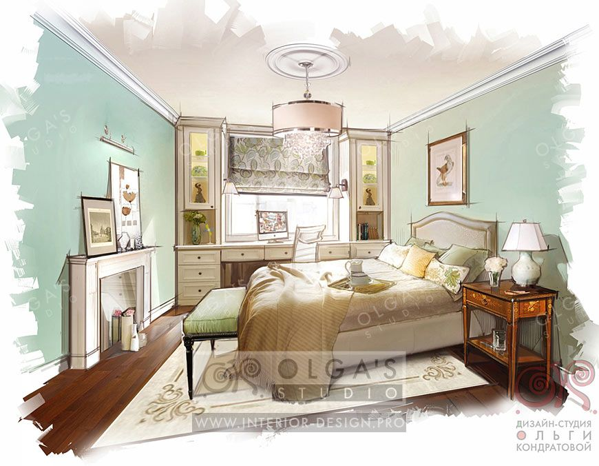 Interior Design Bedroom Sketches lady bedroom interior design idea http://interior-design.pro/en