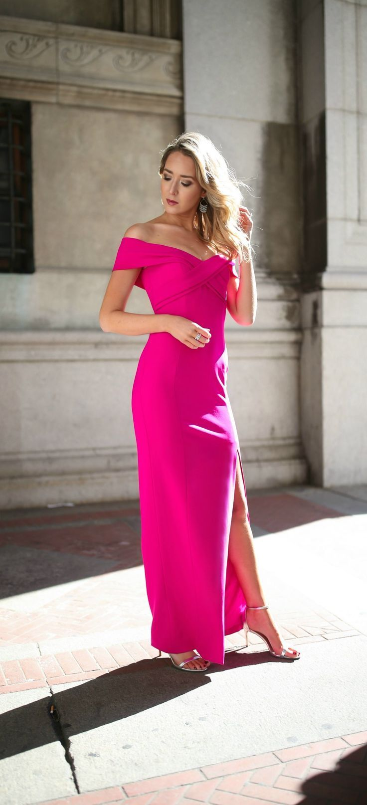 What to Wear to a Black Tie Wedding // floor length fuschia pink ...