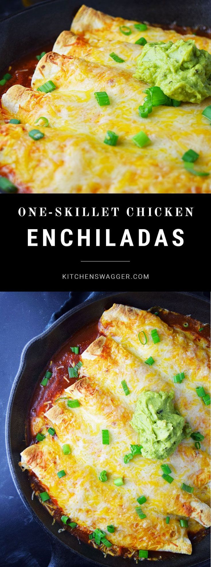 Skillet Chicken Enchiladas Recipe | Kitchen Swagger #skilletrecipes