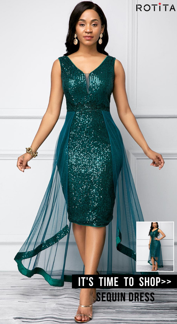 Sequin Detail Peacock Blue Sleeveless Dress