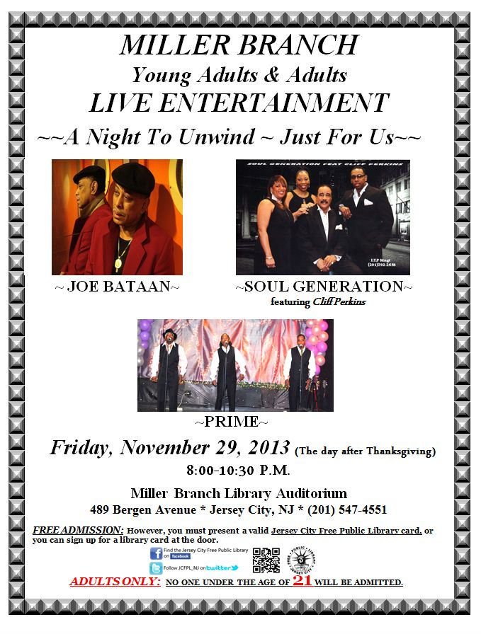 Live Entertainment Day After Thanksgiving What S New Jersey City Free Public Library Live Entertainment Library Events Jersey City
