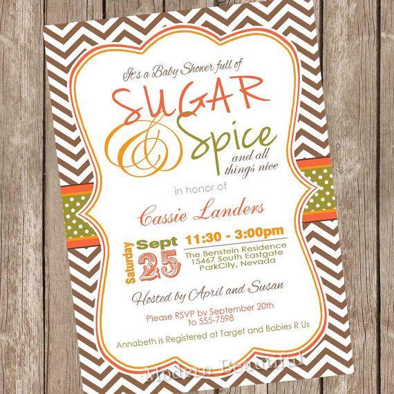 Fall Sugar And E Baby Shower Invitation Orange Brown Green Autumn Typography Printable Digital File