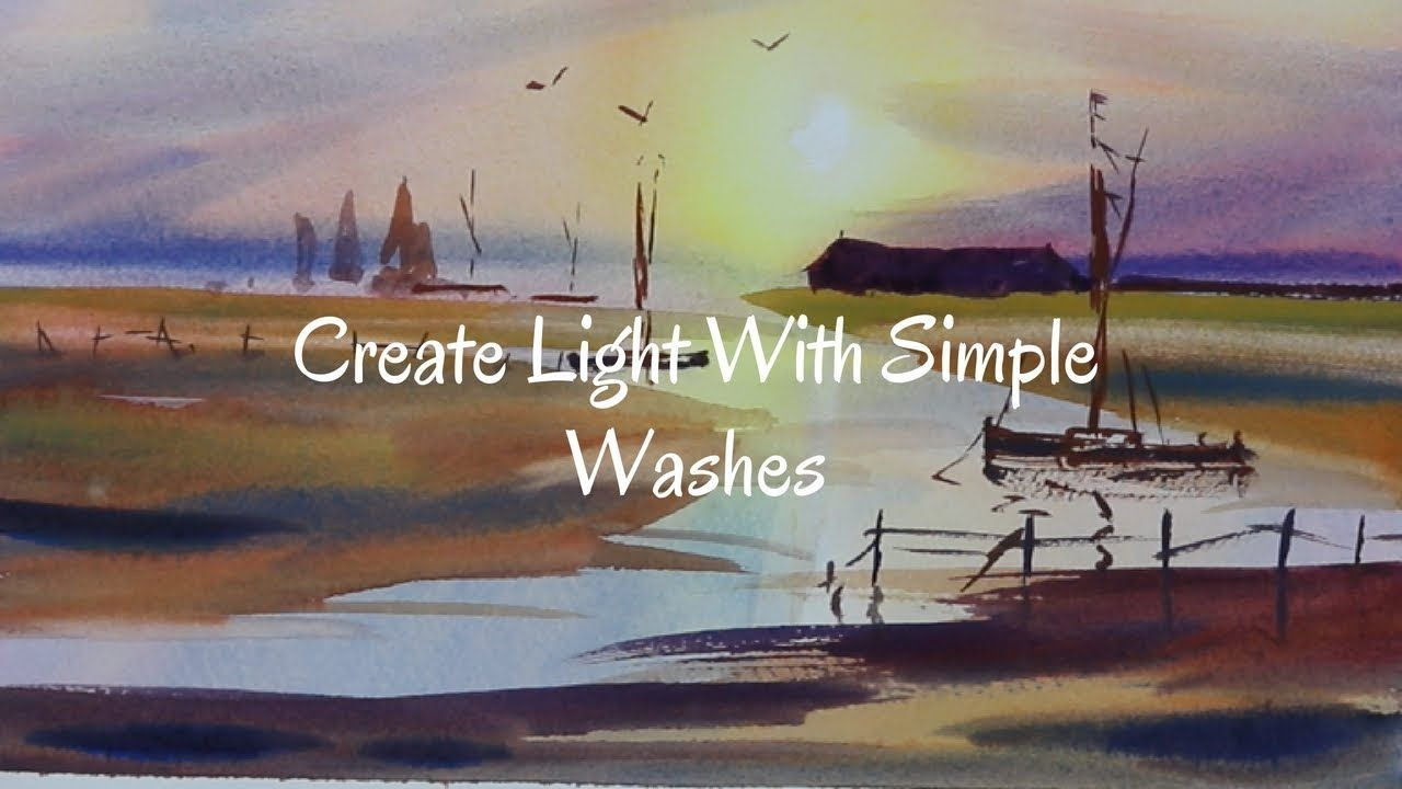 Simple Sunset Wet Into Washes Watercolour Watercolor Lessons