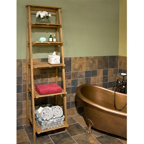 Oversized Ladder Style Teak Bathroom Shelf | Teak, Shelves and Products