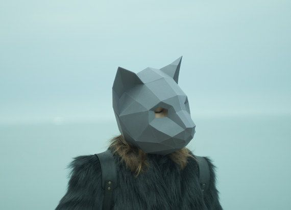Make Cat Mask, DIY Animal Head, Instant Pdf download, Paper Mask, 3D - paper face mask template