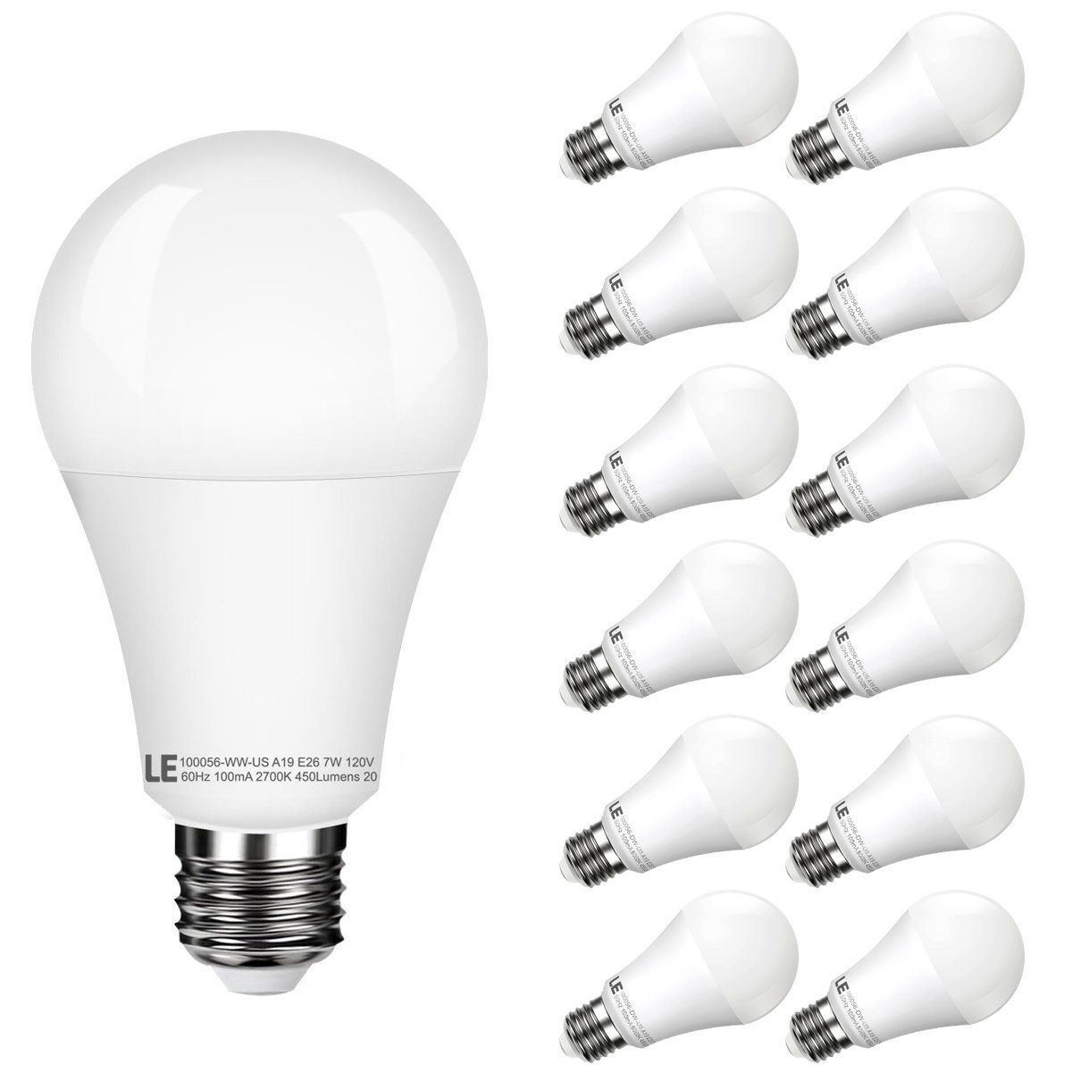 7w 450lm Warm White A19 E26 Led Light Bulbs 40w Incandescent Equivalent Pack Of 12 Units Bulb White Led Lights Light Bulb