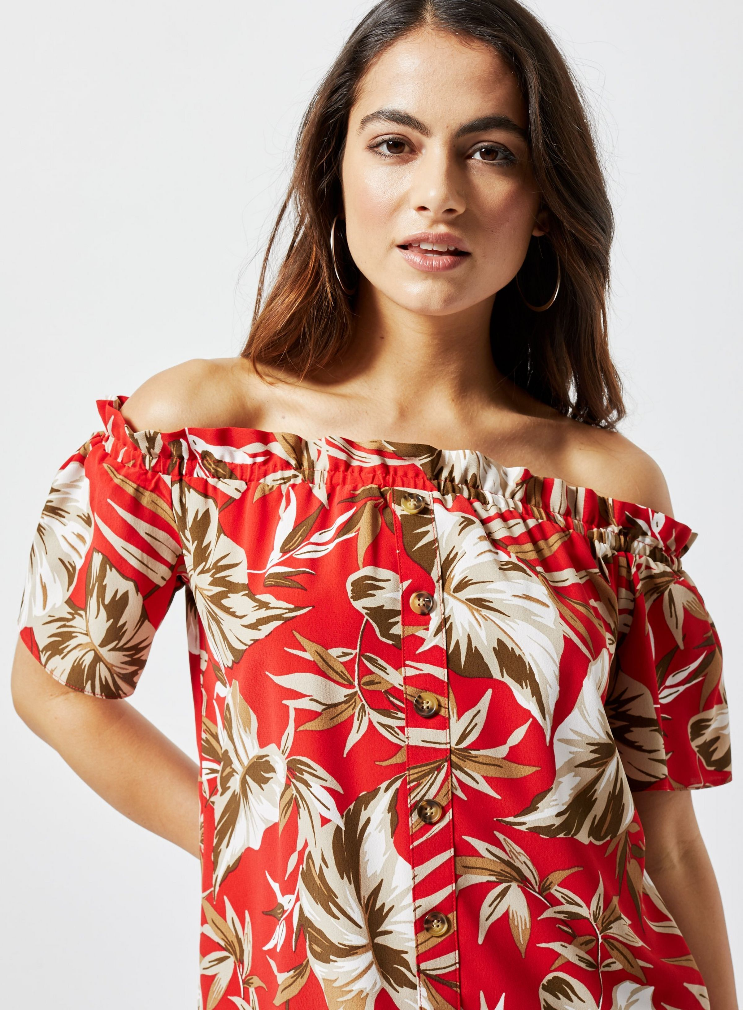 beb94a841f1 Petite Red Tropical Print Bardot Top in 2019 | JRC IN-STORE 2019 ...
