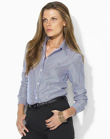 Monogram Striped Cotton Shirt - Lauren Long-Sleeve - RalphLauren.com