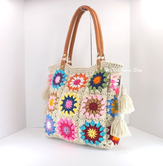 Crochet granny squares handbag with tassels and genuine leather ...