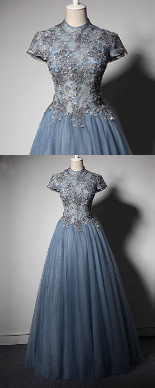 new blue gray tulle cap sleeves full length spring prom dress