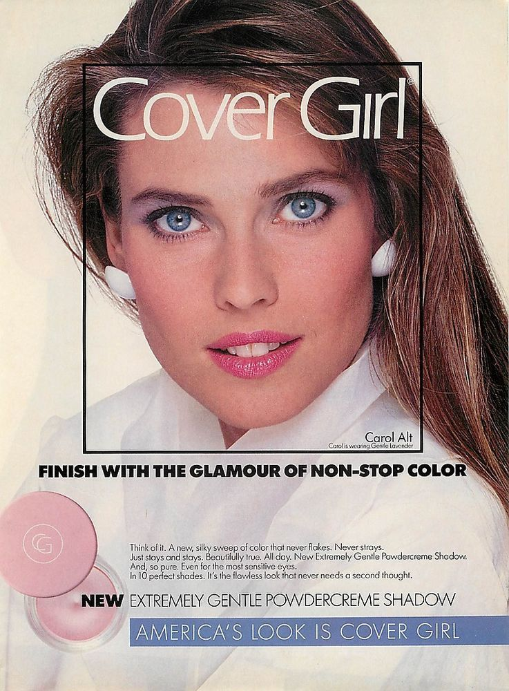 1989 CAROL ALT magazine print ad for COVER GIRL Extremly Gentle Powdwercreme