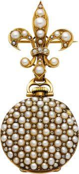 Estate Jewelry:Watches, Lady's Swiss Pearl, Diamond, Gold Lapel Watch. ...