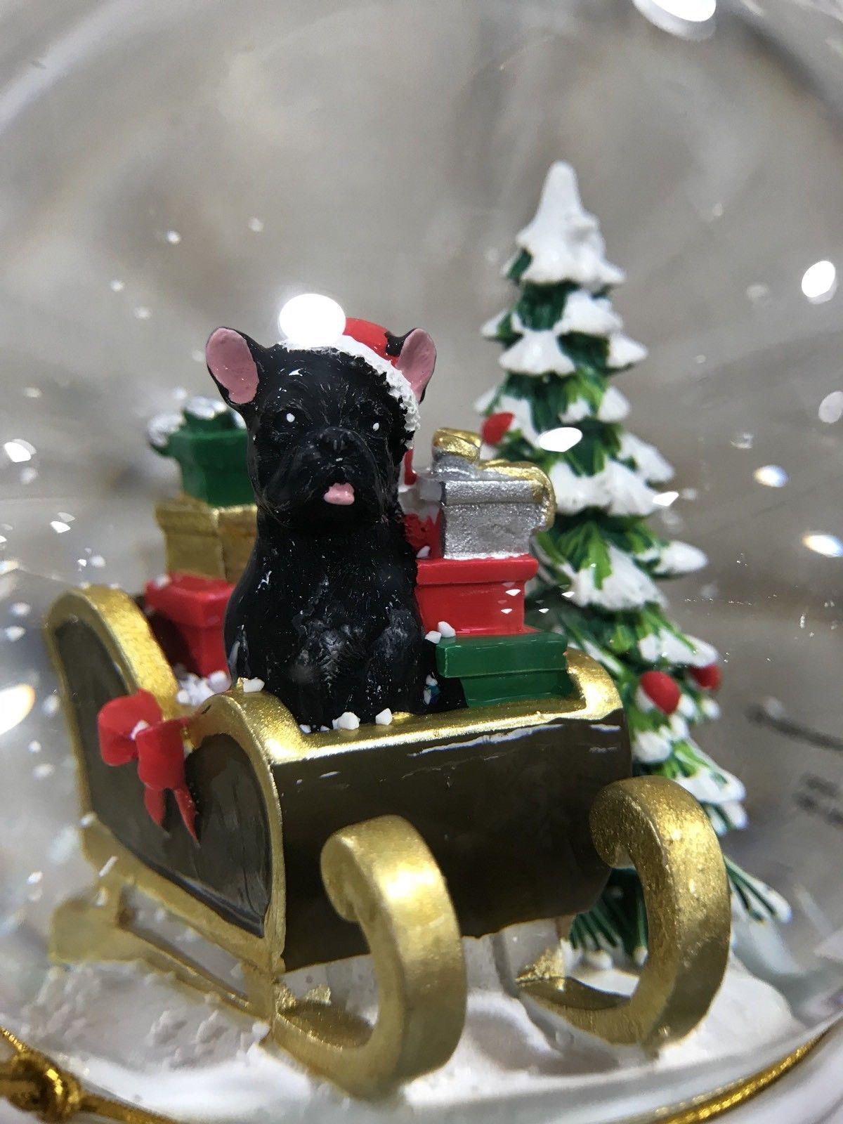 French Bulldog Christmas Ornament.French Bulldog Christmas Snow Globe Black Frenchie Holiday
