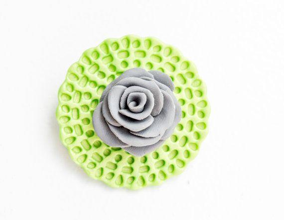 Polymer clay brooch , Rose brooch, Green and grey accessory , Bag decoration, Flower brooch , Clay accessory , Boho brooch , Summer trends