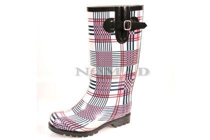 Nomad Footwear Puddles Rain Boot - Blue/Pink Plaid