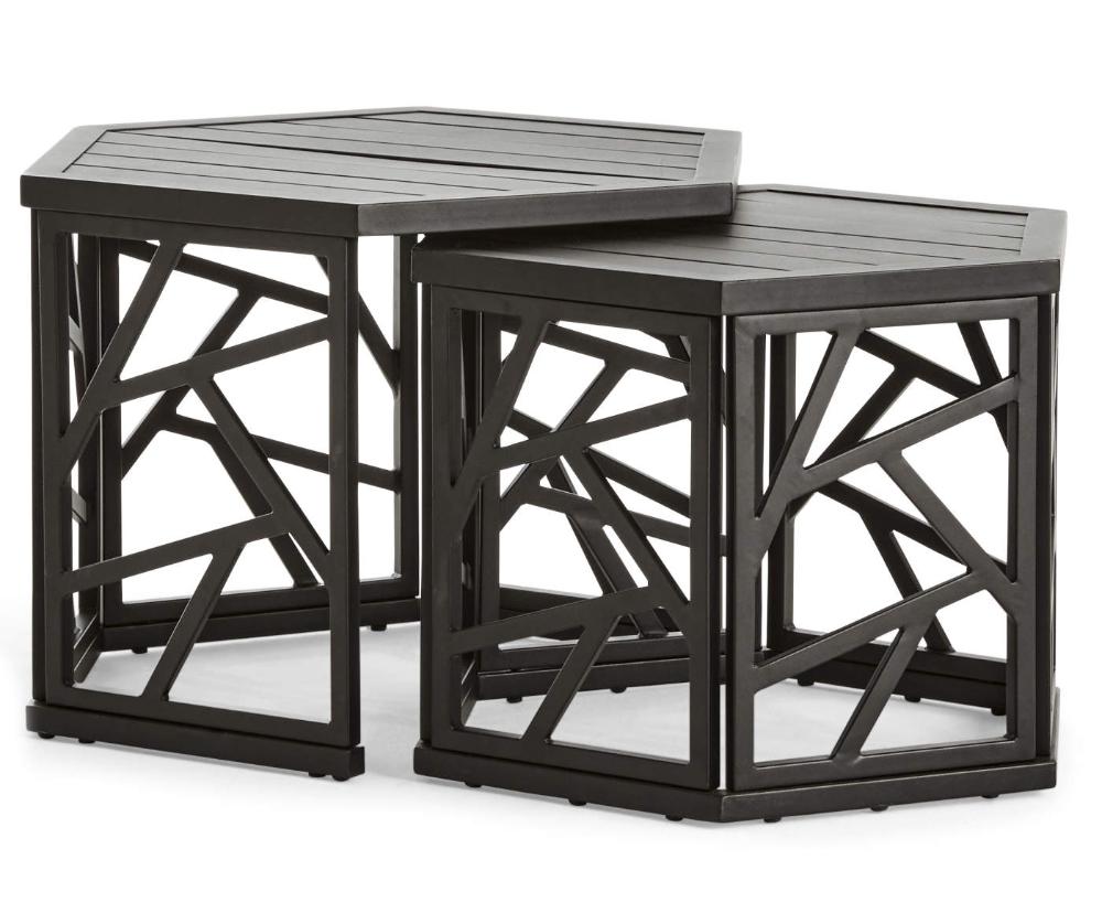 Real Living Verrado Black Nesting Hexagon Tables, 2-Pack ... on Wilson & Fisher Verrado Black Cushioned Patio Sofa id=55344